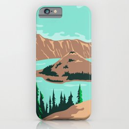 Crater Lake National Park in Klamath County Oregon United States WPA Poster Art Color iPhone Case