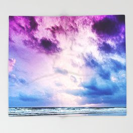 Cloudy shores Throw Blanket