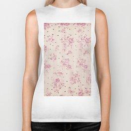 Rustic elegant white stripes rose pink floral polka dots Biker Tank