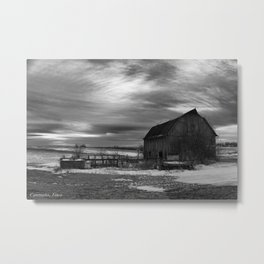 The Sun Sets on a Centralia, Iowa Farm Metal Print