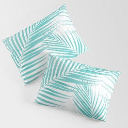 Soft Turquoise Palm Leaves Dream - Cali Summer Vibes #2 #tropical #decor #art #society6 Pillow Sham