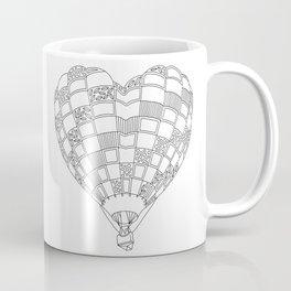 Heart Hot Air Balloon, Adult Coloring Illustration Coffee Mug
