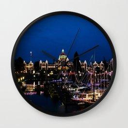 Victoria at night - christmas lights Wall Clock