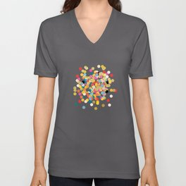 Gold & Colorful Confetti Pattern Unisex V-Neck