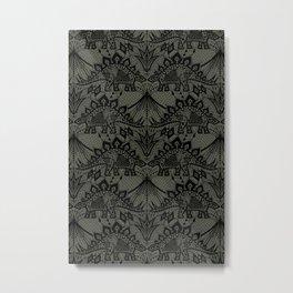 Stegosaurus Lace - Black / Grey Metal Print