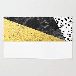 Mele - gold abstract painting art decor dorm college trendy hipster foil glitter black and white dot Rug