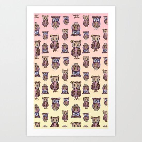Owl pattern Art Print