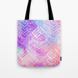 Holographic Glam - Geometric Pattern on Holo Effect Background Tote Bag