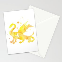 Yellow Dragon Watercolor Painting Stationery Cards
