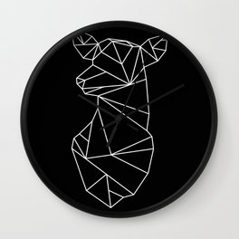 Geometric Doe (White on Black) Wall Clock