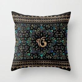 Ek Onkar / Ik Onkar Gemstone and gold Throw Pillow