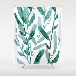 greeen water color leaves Shower Curtain