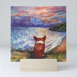 Corgi - sunset adorer Mini Art Print