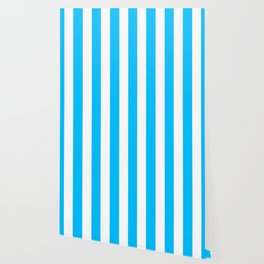 Capri turquoise -  solid color - white vertical lines pattern Wallpaper