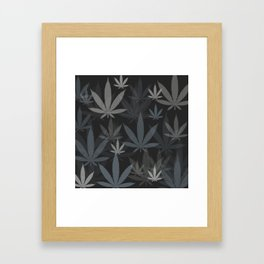 Marijuana Cannabis Weed Pot Grey Tones Framed Art Print