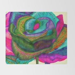 Pinkie Teal Neon Rose (Rainbow Roses) Throw Blanket
