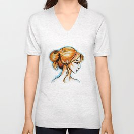 blonde girl Unisex V-Neck
