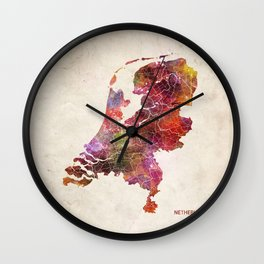 Netherlands map Wall Clock
