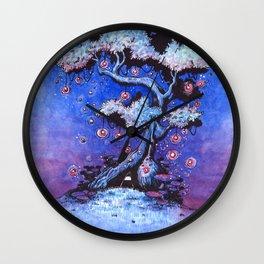Ninja and the tree of lights Wall Clock