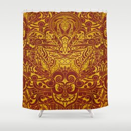Balinese abstract art Shower Curtain