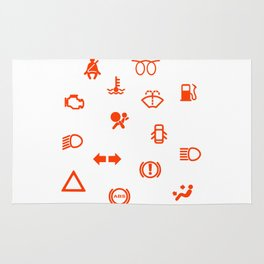 Vehicle Dash Warning Symbols Rug