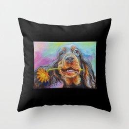 Black Valentine gift for Gordon Setter Dog Lover Throw Pillow