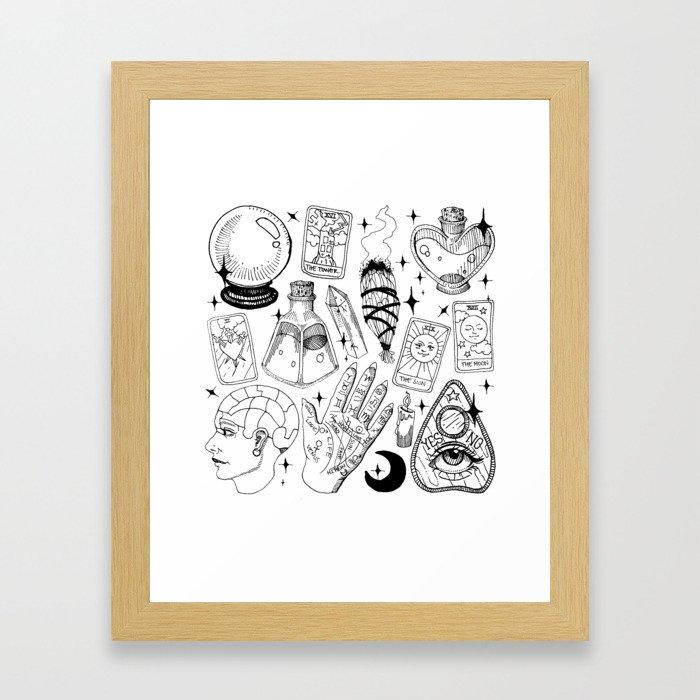 Fortune Teller Starter Pack Black and White Framed Art Print