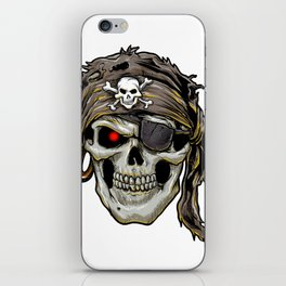 pirate skull with black bandana iPhone Skin