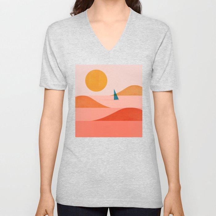 Abstraction_Sailing_Ocean_002 Unisex V-Neck