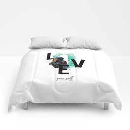 Modern Design, Love Yourself Quote, Self Care, Inspirational Quote, Double Exposure Comforters