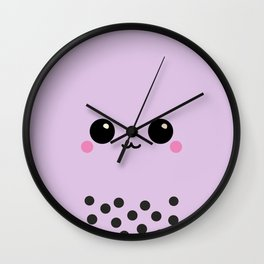 Purple Taro Bubble Tea Boba Milk Tea Boba Face Wall Clock