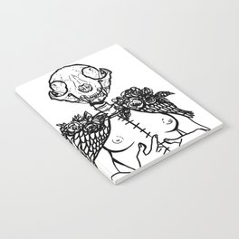 Crazy cat lady skeleton winged surreal figure Notebook