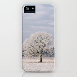 Tree covered in a thick hoar frost. Norfolk, UK. iPhone Case