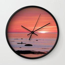 Kayaker and Bird at Last Light Wall Clock