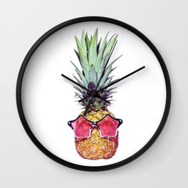 Trendy pineapple with pink sunglasses Wall Clock