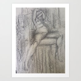 Nude like Egon, Pencil on paper by Jain McKay. Art Print