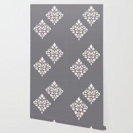 Scroll Damask Art I Cream on Grey Wallpaper