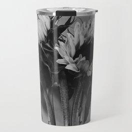 Black and White Sunflowers Travel Mug