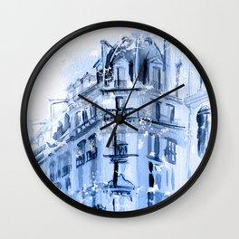 Paris winter watercolor Wall Clock