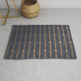 gold and blue Rug