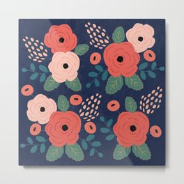 Flower Pattern, Pink Red Flowers on Blue, Vintage, Floral Metal Print