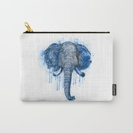 Blue Watercolor Elephant Head Carry-All Pouch