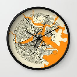 Boston Map Moon Wall Clock