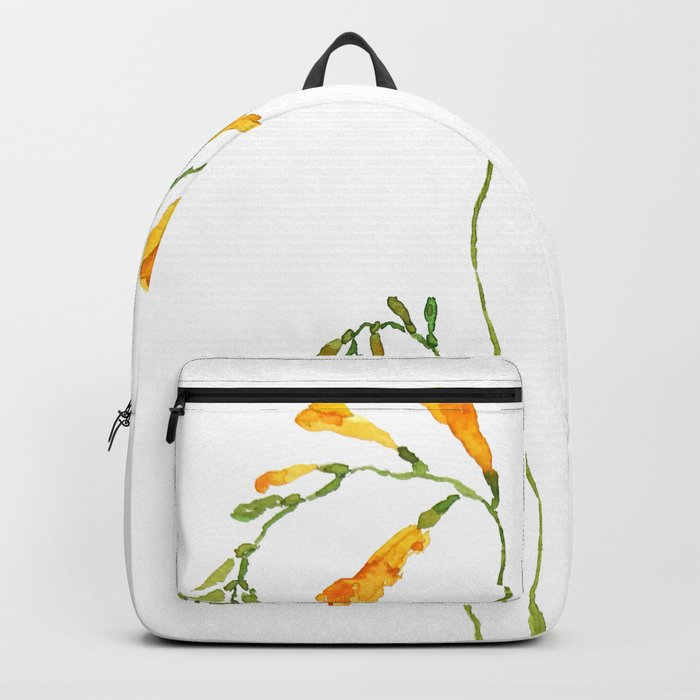 orange freesia watercolor Backpack