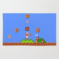 mario bros Area & Throw Rugs featuring Super Mario Bros by Trash Apparel