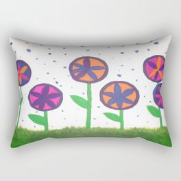 Raindrops and Flowers Rectangular Pillow