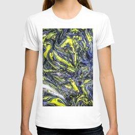 Liquid Oil Art Abstract Blue Yellow Gel T-shirt