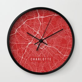 Charlotte Map, USA - Red Wall Clock