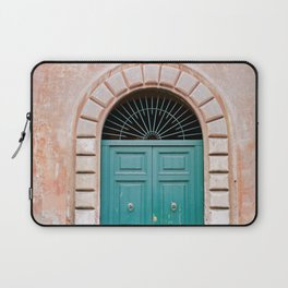 Turquoise Green door in Trastevere, Rome. Travel print Italy - film photography wall art colourful. Laptop Sleeve