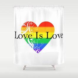 Love Is Love Rainbow Pride Heart 4 Shower Curtain